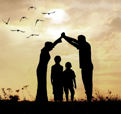 Family parents and children, secure and protecting home concept